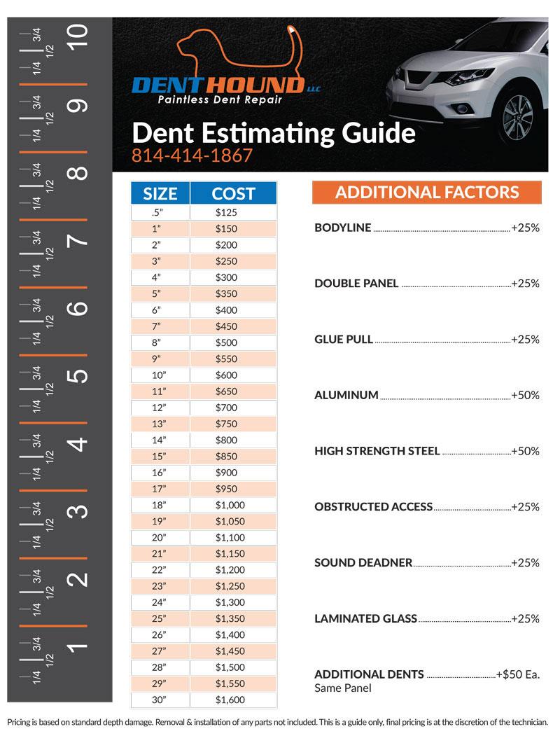 Dent Hound Paintless Dent Repair Pricing